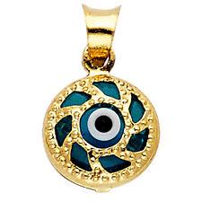 14K Yellow Gold Evil Eye Pendant Charm
