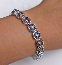 18K White Gold Filled - Blue MYSTICAL Oval Topaz Square Crystal Bracelet