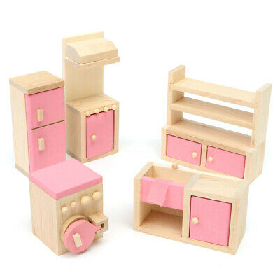 6Pcs Living Room Set Wooden Doll House Miniature Furniture Kids Children Toy