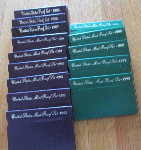 Mint 15 Proof Set San Francisco Mint Box and COA 1984-1998 U.S