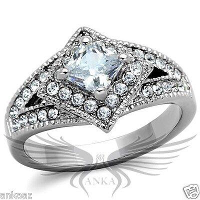 Brilliant 0.7ct Princess Cubic Zircon CZ AAA Engagement Ring 5 6 7 8 9 10 TK1760