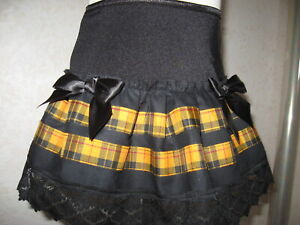Black yellow tartan lace skirt Baby girls 18-24 months Party Christmas Gift Rock