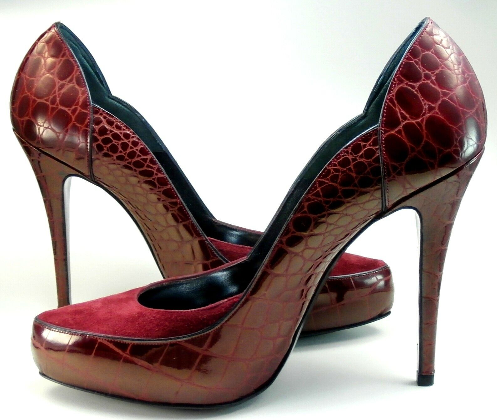 BUI Heels High Schuhe Damen Wildleder Kroko Lack bordeaux 38