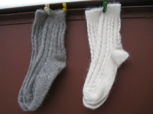 Men/'s boot bed SOCKS homemade NATURAL goat down cashmere  yarn Russian craft