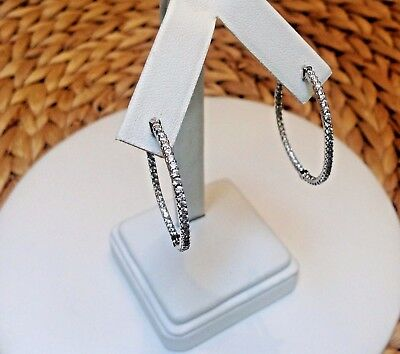 """In and Out CZ Hoop Earrings-Inside Outside Pave-Silver Rhodium EP-Hinged-1.37"""""""