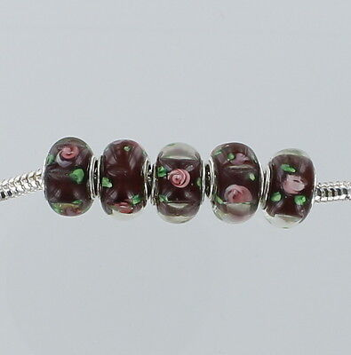 Bead Glass Lampwork Dark Crystal Blue with Flowers Sterling Silver Core Lot of 5