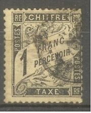 FRANCE-STAMP-TIMBRE-TAXE-N-22-034-TYPE-DUVAL-1F-NOIR-034-OBLITERE-A-VOIR