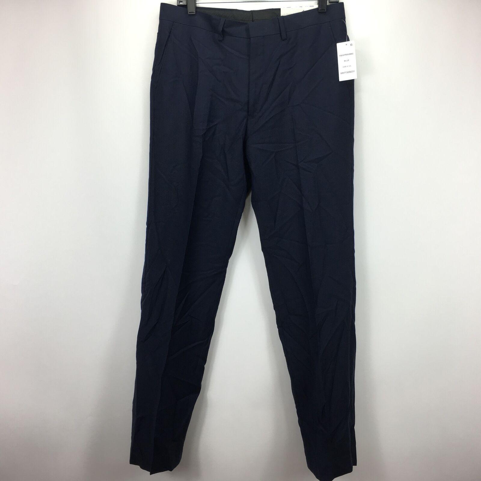 Ryan Seacrest Distinction Mens Modern Slim-Fit Dress Pants bluee 33x32
