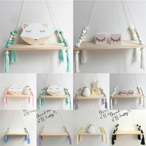 Wall Hanging Shelf Wood Rope Swing Shelves Storage Holder Baby Kids Room Decor