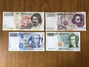 LOTTO-4-BANCONOTE-LIRE-100000-CARAVAGGIO-50000-BERNINI-10000-VOLTA-5000-BELLINI