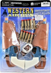 Western-Air-Gun-Set-With-Holsters-And-Suction-Cup-Bullets-READ-Description