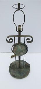 Vintage-Industrial-Brutalist-Spinning-Globe-World-Plaster-Metal-Table-Lamp
