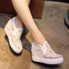 Summer Lace Floral Hidden Wedge Heel Hollow Slip On Womens Sneakers Plus Sz