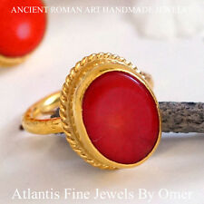 OVAL CORAL RING STERLING SILVER HAND FORGED BY OMER 24K GOLD PLATED HANDMADE