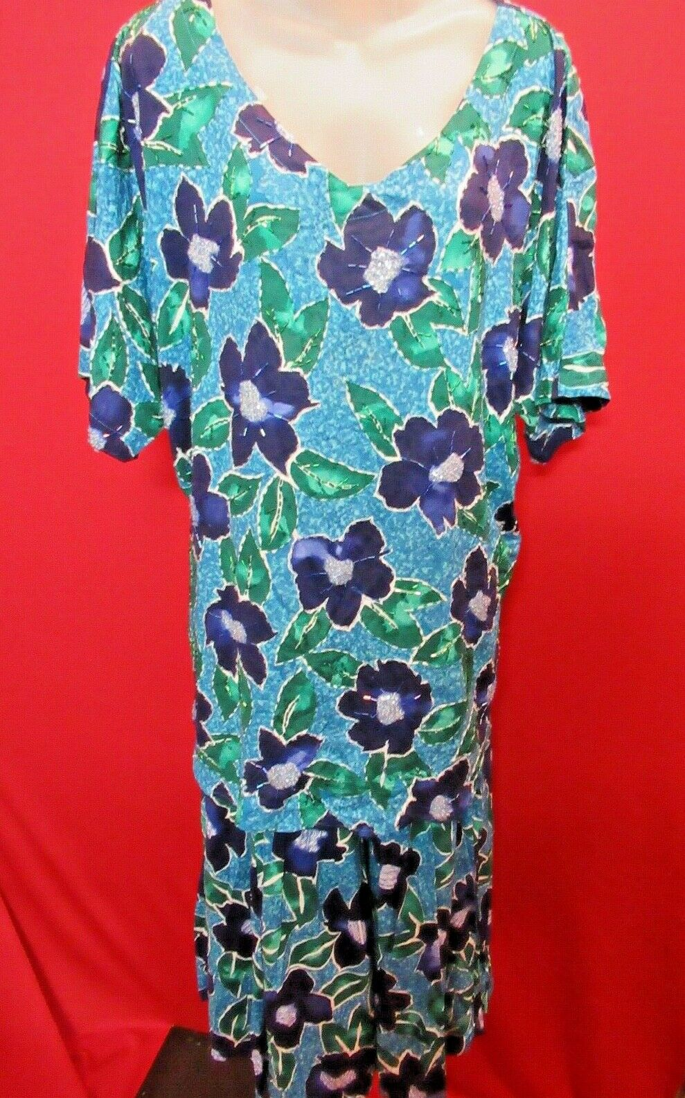 WE BE BOP Vintage Beaded Blau Floral Tunic oben Swing Rock Outfit Set Sz 2X