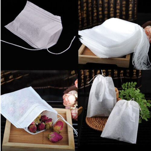 100x White Muslin Drawstring Reusable Bags Bath Soap Herbs Tea Spice
