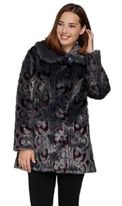 Dennis Basso Platinum Collection Jacquard Faux Fur Coat, Size S, MSRP