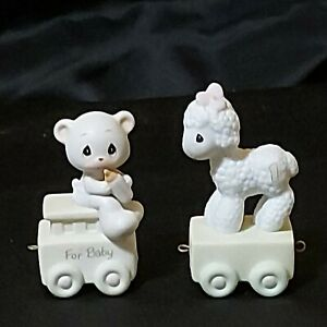 Vintage Precious Moments Birthday Train Lamb & Teddy 3' Tall Lot of 2 Preowned