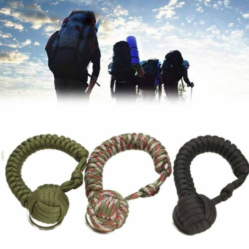 Outdoor Survival Monkey Fist Paracord Keychain Key ring Military Steel Ball Rope