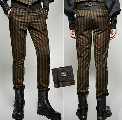 Dandy Victorian Suit Striped Jacquard Pants Trousers Gothic Corset PunkRave Men