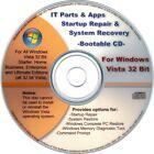 32 Bit Windows Vista Recovery Disc: Startup Repair & System Restore Boot CD Disk