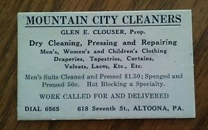 VINTAGE-ADVERTISING-COLLECTIBLE-MOUNTAIN-CITY-DRY-CLEANER-CLOUSER-ALTOONA-PA