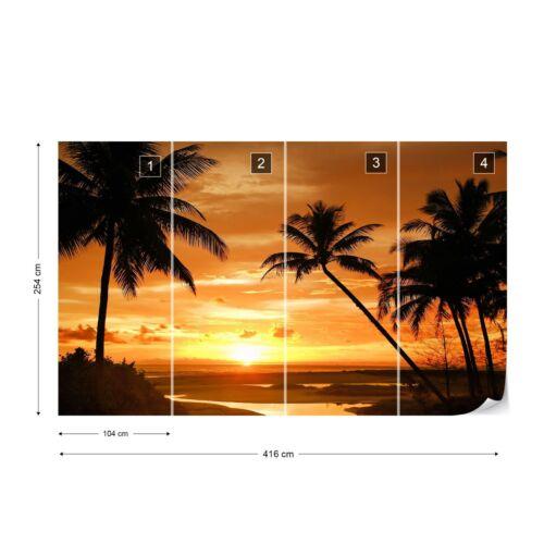 Beach Tropical Sunset Palms Photo Wallpaper Wall Mural Fleece Easy-Install Paper
