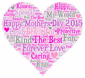 personalised word art heart print a4 mum mothers day mummy birthday