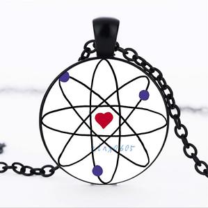 La Science Love Noir//Bronze//Tibet Argent Dôme En Verre Chaîne Collier Pendentif