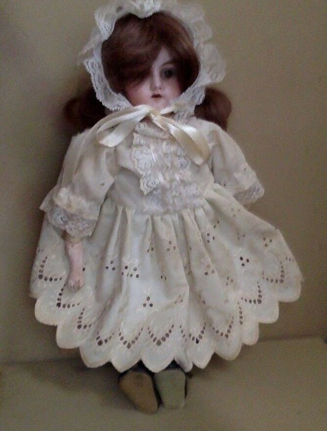 Antique Armand Marseille Bisque Head Doll. 14  Brunette. Mabel 1310.