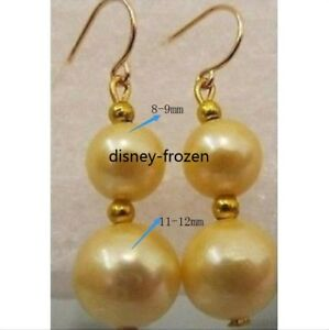 Gorgeous AAA 11-12mm golden real natural south sea pearl earrings with 14 k gold