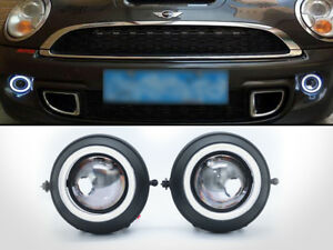 Replacement-HID-Ready-Projector-Fog-lights-LED-Halo-Ring-For-Mini-Cooper-S-R56