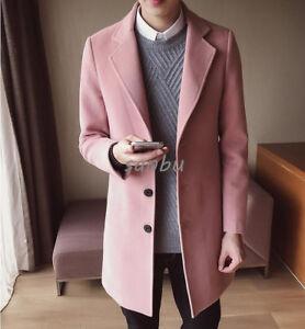 New-Mens-Wool-Blend-Trench-Coat-Korean-Slim-Fit-3Button-Parka-Jacket-Overcoat-SZ