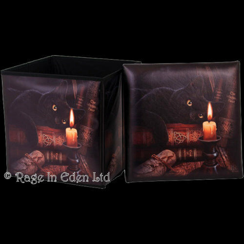 *THE WITCHING HOUR* Black Cat Printed Leatherette Storage Box Stool Lisa Parker