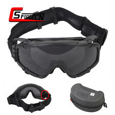 Military Paintball Tactical Safety Ballistic Google Glasses with Cool Fan Black