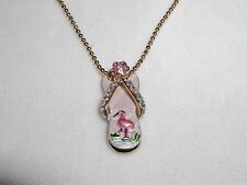 ADORABLE AUSTRIAN CRYSTAL FLAMINGO FLIP FLOP SHOE PENDANT NECKLACE FLAMINGOS NEW