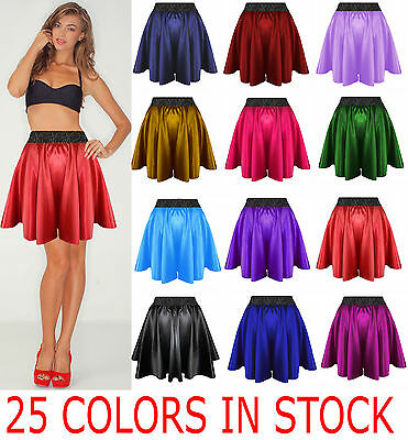 Satin Mini Short Sexy Hot Flare Black Waist Band Skirt Dress Outfit Boho 24Color
