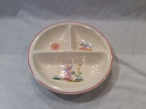 Image Is Loading Vintage Child Baby Warming Bowl Divided Plate Ceramic