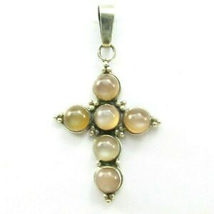 925-Sterling-Silver-Cabochon-Cut-Moonstone-Religious-Cross-Pendant-Vintage