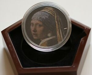 GIRL-PEARL-EARRING-Great-Micromosaic-Passion-3-Oz-Silver-Coin-20-Palau-2019