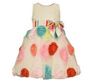Bonnie Jean Girls Ivory Shantung Multi Color Bonaz Birthday Dress 2T 3T 4T