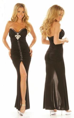 Sexy Abito Vestito black Lungo Sera Cerimonia Strass taglia S Fashion GLAMOUR