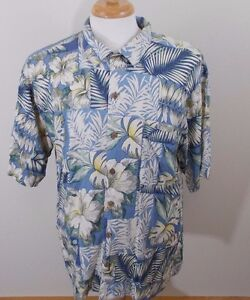 Tommy-Bahama-Mens-100-Silk-Hawaiian-Floral-Shirt-Blue-Size-L