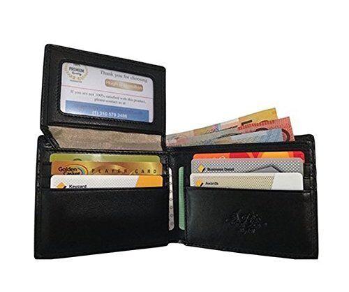 Mens Wallet Slim Black Leather RFID Credit Card Security Bifold New ID Window