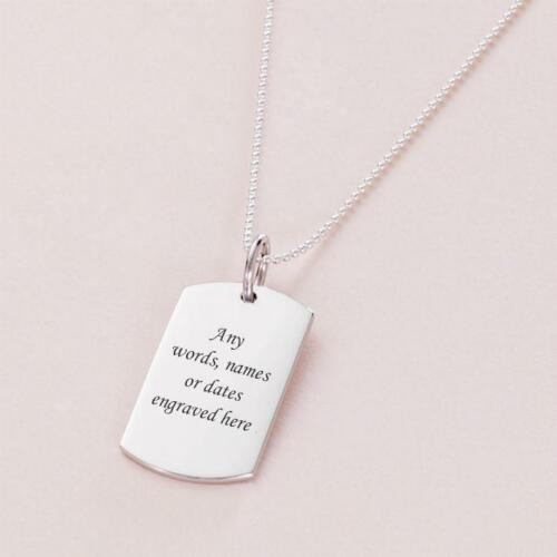 Sterling Silver Dogtag Necklace for Man or Boy Personalised Jewellery for Men