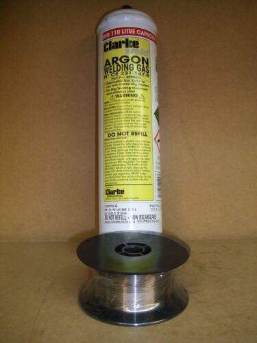 Argon 110 litre Welding Gas /& 0.8mm x 0.7kg Stainless Steel Mig Wire