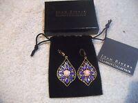 Joan Rivers Earrings Goldtone Multi Purple Enamel & Crystals Leverback Free Ship