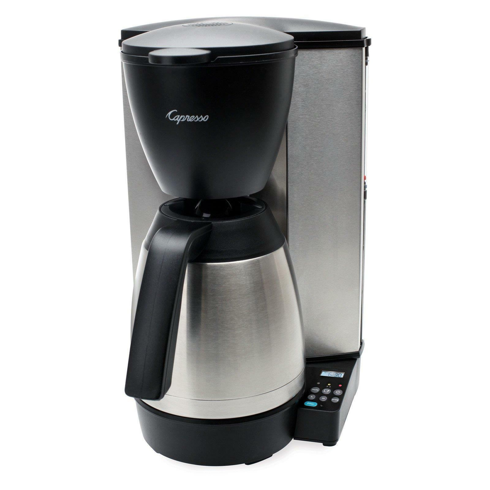 10-Cup Programmable Coffee Maker Thermal Carafe Stainless Steel Filter Lined New