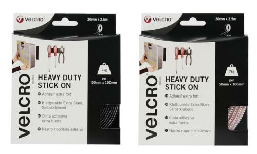 White /& Black VELCRO® Brand Heavy Duty Stick On Tape 50mm x 2.5m