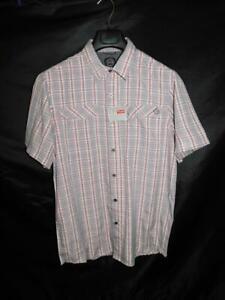 Wrangler-M-NWT-Red-Blue-Plaid-ATG-Camp-Shirt-Short-Sleeve-Chest-Pockets-Button-M